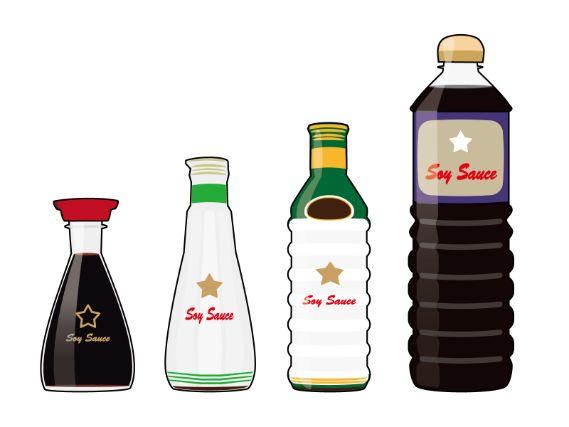 様々な容器に入った醤油